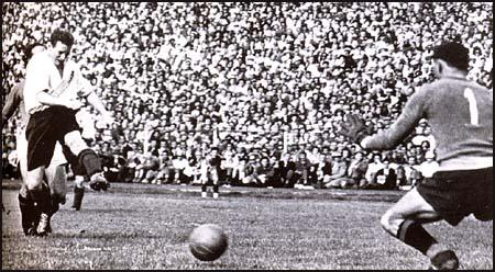 Tom Finney scores England's fourth goal against Italy in May, 1948.