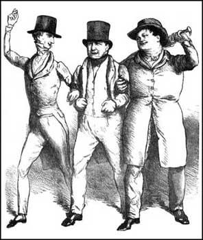 John Doyle, drawing of Sir Francis Burdett, Joseph Hume and Daniel O'Connell celebrating Catholic Emancipation (1829)