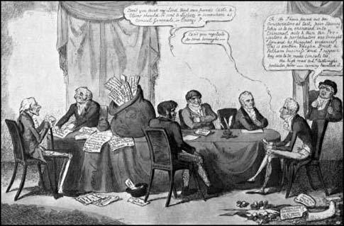 This print shows Lord Sidmouth, Thomas Reynolds, John Castle, WilliamOliver, George Canning and Lord Castlereagh. In the picture spies(Reynolds, Castle and Oliver) are providing government ministers withinformation on those advocating parliamentary reform. (July 1817)