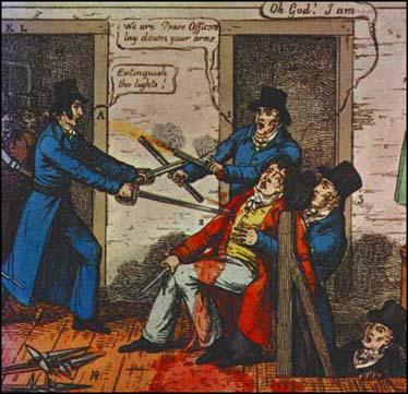 Drawing of Arthur Thistlewood killing Richard Smithers