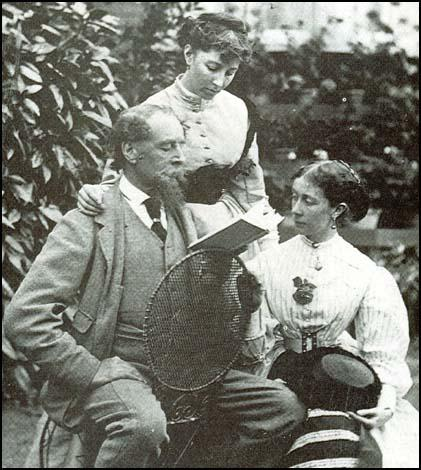 Charles Dickens with his daughters Kate and Mamie