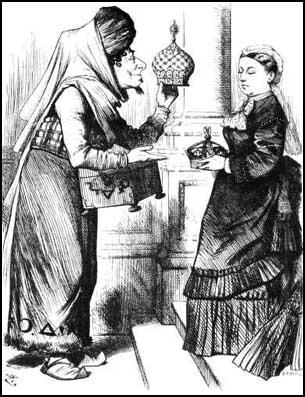 John Tenniel, Disraeli and Queen Victoria Exchanging Gifts (Punch Magazine, 1876)