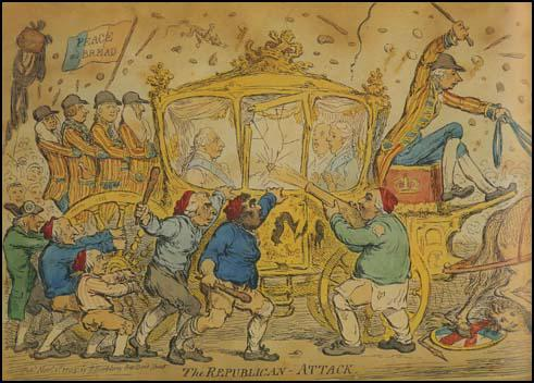 James Gillray, drew this picture of George III's coach being attacked in 1795.