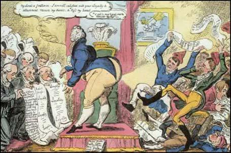 George Cruikshank produced Loyal Addresses and Radical Petitions in December 1819. In the weeks following the PeterlooMassacre, George Prince of Wales received petitions from Toryloyalists and Radicals demanding parliamentary reform.