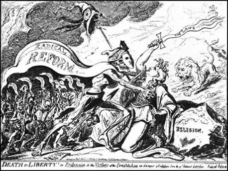 George Cruikshank was a moderate reformer who disagreedwith the Radicals. This cartoon was published in December, 1819.