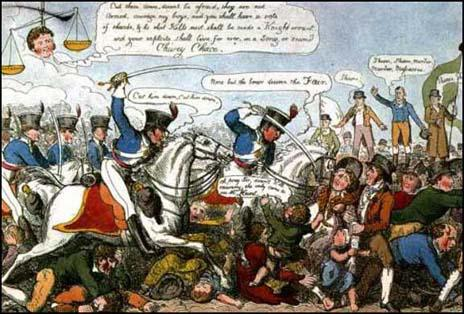 Poster entitled Manchester Heroes was published in 1819