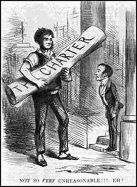 Lord John Russell receivingCharter Petition at the House ofCommons (Punch Magazine, 1848)
