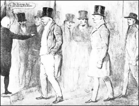 John Doyle, drawing showing three new MPs, William Cobbett, JohnGully and Joseph Pease (the first Quaker elected to Parliament) arrivingin March 1833. An angry Horace Twiss can be seen third from the right.