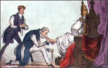 Cartoonist view of Robert Peel, Duke of Wellington and the Pope (1829)