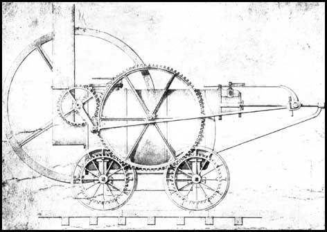 One of Richard Trevithick's drawings that hemade when he was designing the Wylam Locomotive