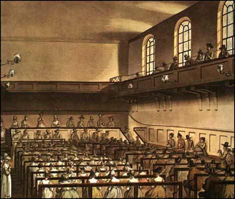 Rudolf Ackermann, Quakers Meeting House, from Microcosm of London (1808)