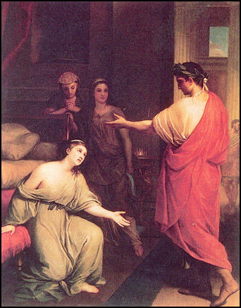 Painting by Anton Mengs of Cleopatra being captured by Octavian. (1770)