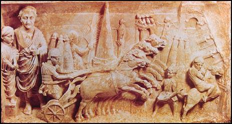 Tomb of a Roman official and his wife showing a chariot race (c. AD 130)