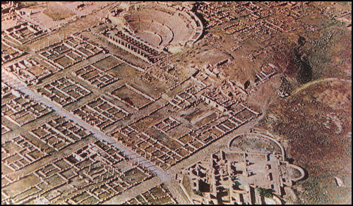 Aerial view of the remains of the Roman city of Timgad in Africa.