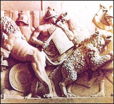 Sculptured relief showing gladiators fighting wild animals (AD 150)