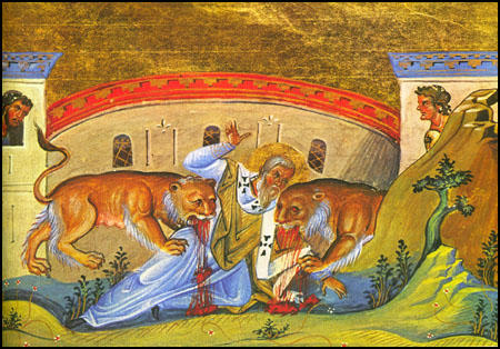 Painting showing the death of Ignatius, the Bishop of Antioch in about AD 67