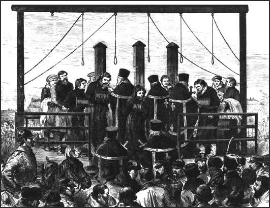 Five members of the People's Will being executed on 3rd April, 1881