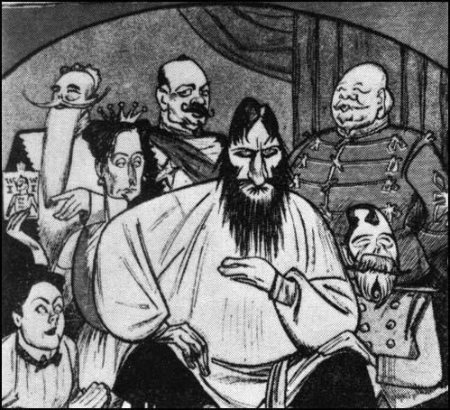 Russian cartoon showing how Rasputin dominated the Royal Court (1916)