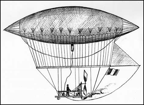 Giffards's balloon in 1852 by Robert Tressell.