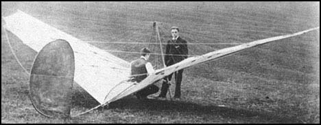 Percy Pilcher and his Bat glider in 1895
