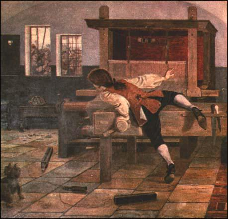 A section of a mural produced by William Bell Scott that showsJohn Kay escaping from his home in 1753 after being attacked bylocal textile workers.