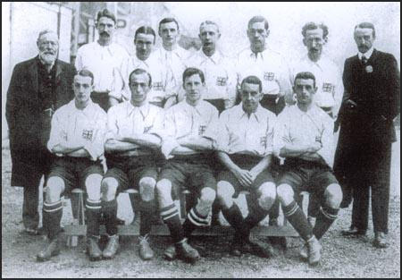 The England team that won the 1908 Olympic Games gold medal. Vivian Woodward is in the centre of the front row. Harry Stapley is sitting to Woodward's right. William McGregor is standing on the left with Kenneth Hunt next to him.
