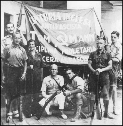 Members of the Tom Mann Centuri unit in Barcelona in September 1936. Left to right: Sid Avner, Nat Cohen, Ramona, Tom Winteringham, George Tioli, Jack Barry and David Marshall.