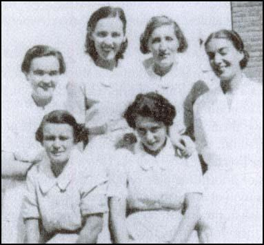 From left to right, standing, Margaret Powell, Susan Sutor, Annie Murray, Patience Darton, sitting Agnes Hodgson and Mary Slater (March 1937). Sam Russell married Margaret Powell in 1950.