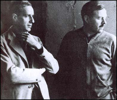 Herbert Matthews with Ernest Hemingway in Spain.