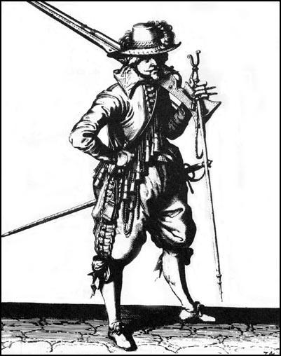 Engraving of a Musketeer (c.1620)