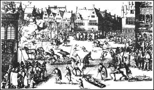 Engraving of the execution of those found guilty of the Gunpowder Plot (1606)