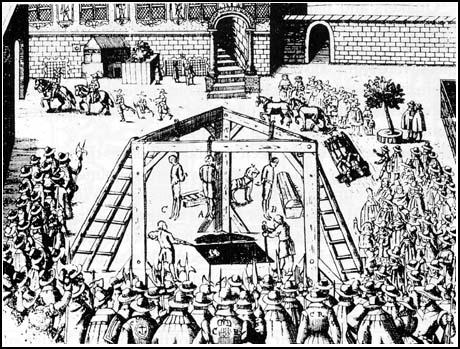 Execution of John Jones, Thomas Scot,Gregory Clement and Adrian Scroop in October 1660.