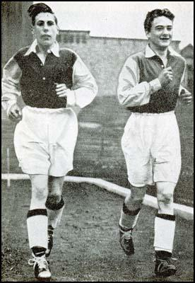 Len Shackleton with Bobby Daniel at Highbury. Daniel joined the RAFon the outbreak of the Second World War and was killed on 23rd December 1943.