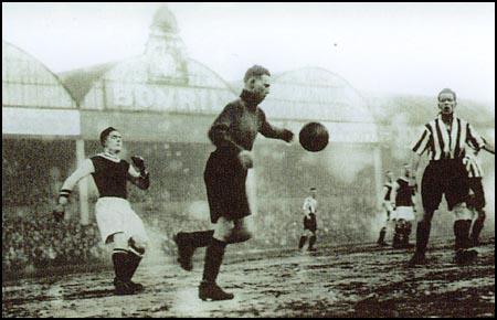 Jimmy Thorpe playing in goal against Aston Villa.