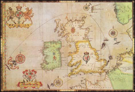 English chart showing the route of the Spanish Armada (c. 1590)