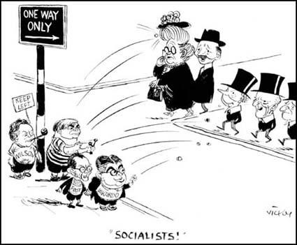 Vicky, cartoon showing Harold Wilson, Aneurin Bevan, Michael Foot, Ian Mikardo attacking Herbert Morrison, Clement Attlee and Hugh Gaitskell (July, 1951)