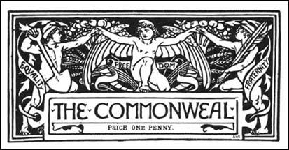 Walter Crane designed the heading for the Commonweal journal in 1885