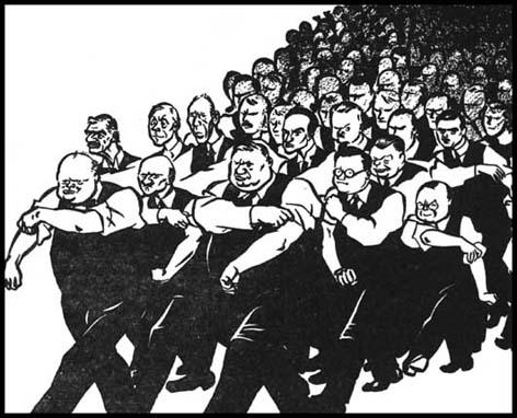 David Low, All Behind You, Winston (14th May, 1940). The cartoon shows in the front row Winston Churchill, Clement Attlee, Ernest Bevin and Herbert Morrison.