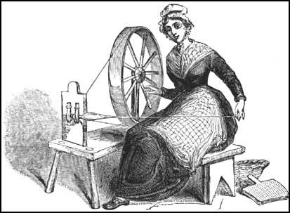 This drawing of a woman using a spinning-wheelappeared in 1835. Her hand-cards are on the floor.