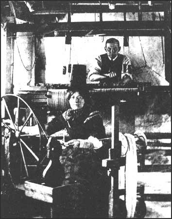 Photograph of weaver and spinner in Wales.