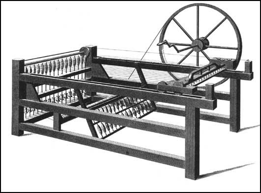 An engraving of a Spinning Jenny by T. E. Nicholson (1835)