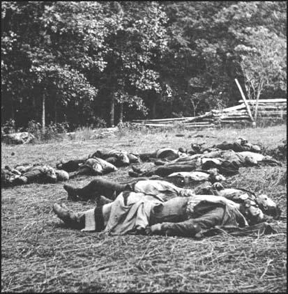 A photograph of dead members of the 24th Michigan Infantry at Gettysburg by Timothy O'Sullivan (July, 1863)