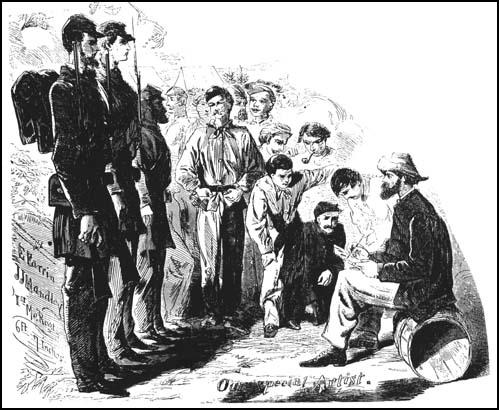 Winslow Homer drawing Northern troops for Harper's Weekly during the American Civil War.