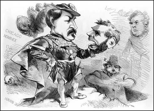 This cartoon of George McClellan holding the skull of Abraham Lincoln was published in the New York World during the presidential campaign of 1864.