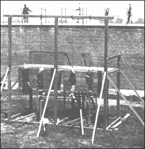 Execution of Mary Surratt, Lewis Powell, David Herold and George Atzerodt at Washington Penitentiary on 7th July, 1865.