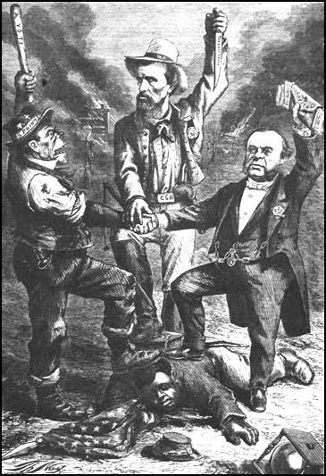 Thomas Nast produced this cartoon for Harper's Weekly suggesting that the Irish were joining with Southern slaveholders and New York capitalists to deny African Americans their freedom.