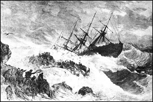 Drawing of the Atlantic on Meagher's Rock, Nova Scotia in April, 1873.