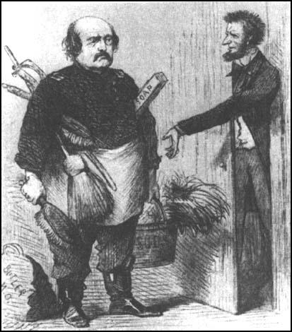 A cartoon in Harper's Weekly commented on the role of Abraham Lincoln in the sacking of Butler (17th January, 1865)