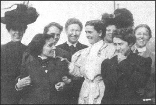 Leaders of the Women's Trade Union in 1907. Shown from left to right are Hannah Hennessy, Ida Rauh, Mary Dreir, Mary Kenney O'Sullivan, Margaret Robins, Margie Jones, Agnes Nestor and Helen Marot.