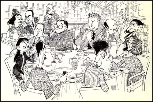 Cartoon of the Algonquin Round Table by Al Hirschfeld. Clockwise, from the bottom left: Robert E. Sherwood, Dorothy Parker, Robert Benchley, Alexander Woollcott, Heywood Broun, Marc Connelly, Franklin Pierce Adams, Edna Ferber and George S. Kaufman. In the background, left to right, Lynn Fontanne, Alfred Lunt, Frank Crowninshield and Frank Case.